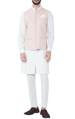 pink kantha stitched hand-woven bandi jacket
