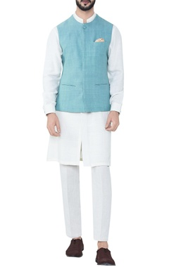 seafoam blue hand-woven cotton bandhi jacket
