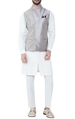 grey pure silk overlap bandhi