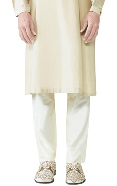 cream spun silk slim fit trousers