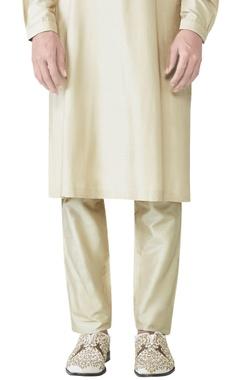 gold spun silk slim fit trousers