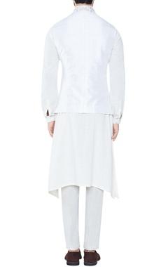 white spun silk slim fit trousers