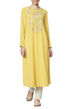 Anita Dongre Yellow cotton georgette tunic