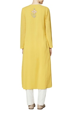 Yellow cotton georgette tunic