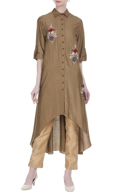 Joy Mitra Silk tunic with asymmetric hemline