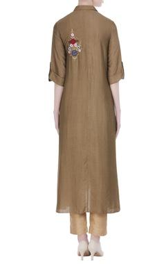 Silk tunic with asymmetric hemline