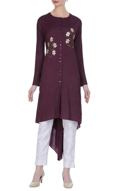 Joy Mitra Floral thread embroidered tunic
