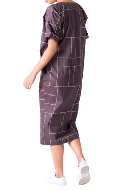 Charcoal grey boxy poplin midi dress