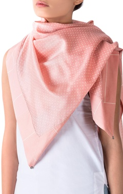 pink polka dotted scarf