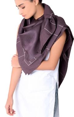 charcoal chanderi silk scarf