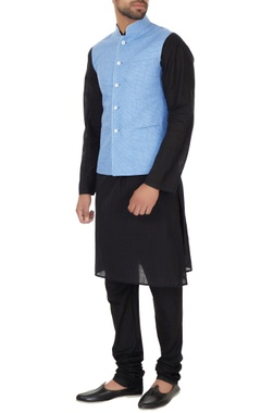 Narendra Kumar - Men Light blue chequered bundi
