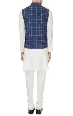 White kurta with churidar & dark blue chequered bundi