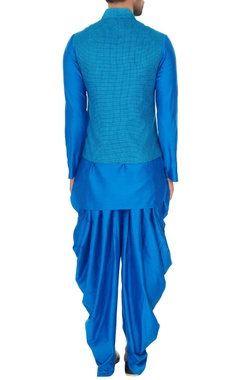 Electric blue linen solid kurta with churidar & chequered bundi