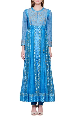 smoke blue dupion silk & georgette zardozi anarkali kurta with churidar & dupatta