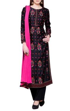 Black dupion silk & georgette floral embroidered kurta with churidar & dupatta