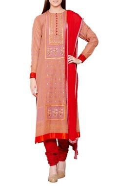 rose pink & red flat silk & chiffon block print kurta with churidar & dupatta