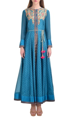 blue chanderi booti jacquard kurta with churidar