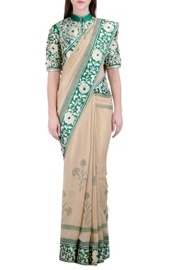 beige & green handloom, georgette & silk gota embroidered sari with blouse