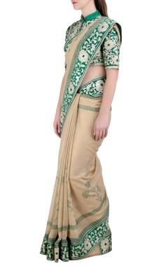 Beige & green handloom, georgette & silk gota embroidered saree with blouse