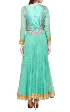 Sea green zardozi & brocade anarkali set