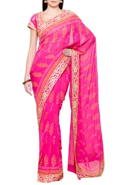 pink gota embroidered sari with blouse