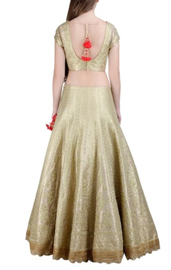 champagne gold raw silk lehenga set