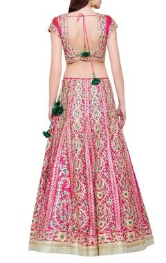 pink & green gota & thread work lehenga set