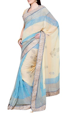 blue & beige gota embroidered sari with blouse