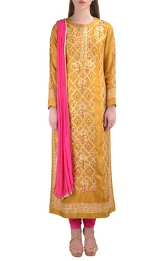 yellow floral thread embroidered kurta set