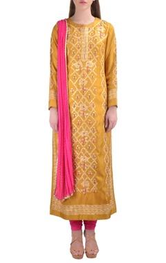 yellow floral thread embroidered kurta set