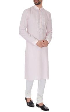 Vanshik Pale pink linen embroidered kurta & pyjamas