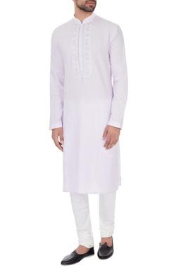Vanshik Lilac linen embroidered kurta & pyjamas