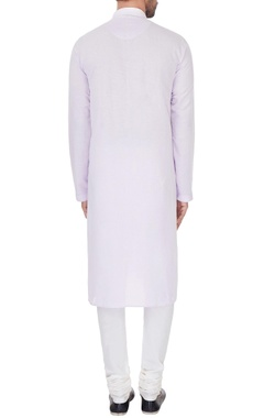 Lilac linen embroidered kurta & pyjamas