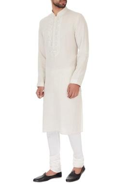 Vanshik White linen embroidered kurta & pyjamas