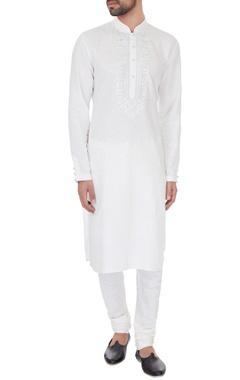Vanshik Ivory linen embroidered kurta & pyjamas