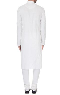 Ivory linen embroidered kurta & pyjamas