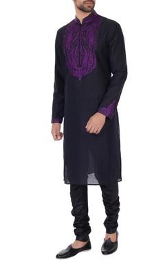 Vanshik Black & mauve linen embroidered kurta & pyjamas