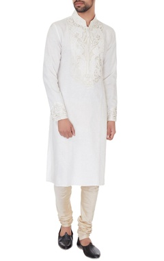 Vanshik Cream linen embroidered kurta & pyjamas