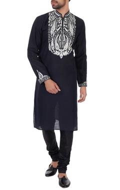 Vanshik Black & white linen embroidered kurta & pyjamas