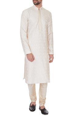 Vanshik Cream chanderi chikan embroidered kurta & pyjamas