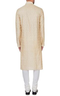 Ivory chanderi chikan embroidered kurta & pyjamas