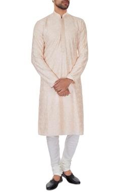 Vanshik Peach chanderi chikan embroidered kurta & pyjamas