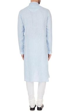 Blue linen & chambray embroidered kurta & pyjamas