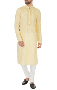 Vanshik Peach linen & chambray embroidered kurta & pyjamas