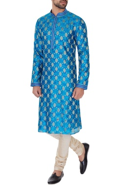 Vanshik Turqouise pure silk embroidered kurta & pyjamas