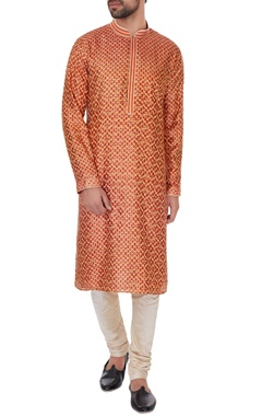 Vanshik Rust pure silk embroidered kurta & pyjamas