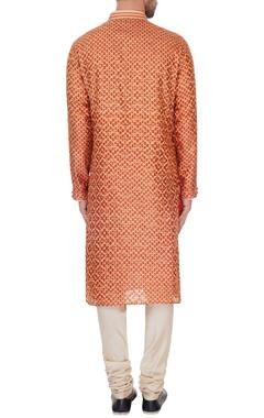 Rust pure silk embroidered kurta & pyjamas