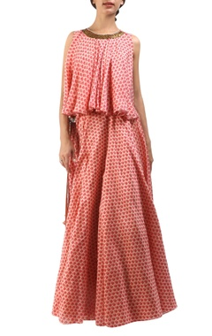 salmon pink chanderi wrap lehenga with flared open back blouse