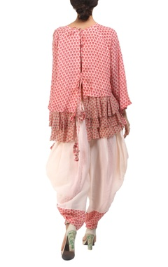 salmon pink poppy printed tie-up back blouse with dhoti pants