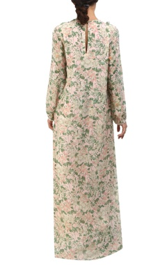 salmon pink floral jaal printed maxi dress
